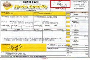 Guía de envío muestra Flecha Amarilla Paquetería